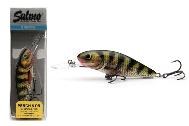 QPH002 - SALMO WOBLER PERCH DEEP RUNNER 8cm- HOLOGRAPHIC PERCH